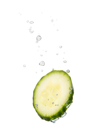 Cucumber in the water with air bubbles