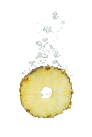 Pineapple in the water with air bubbles