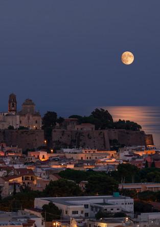 Full moon over the city of Lipari