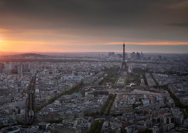 Paris skyline in sunset