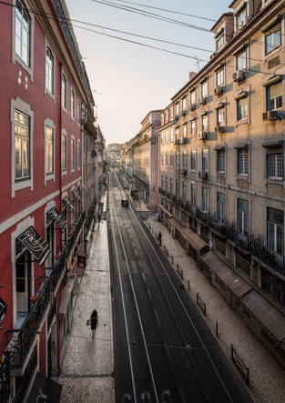 Sunset in the streets of Lisbon