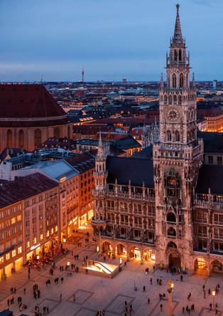 Munich City Hall and Marienplatz at night