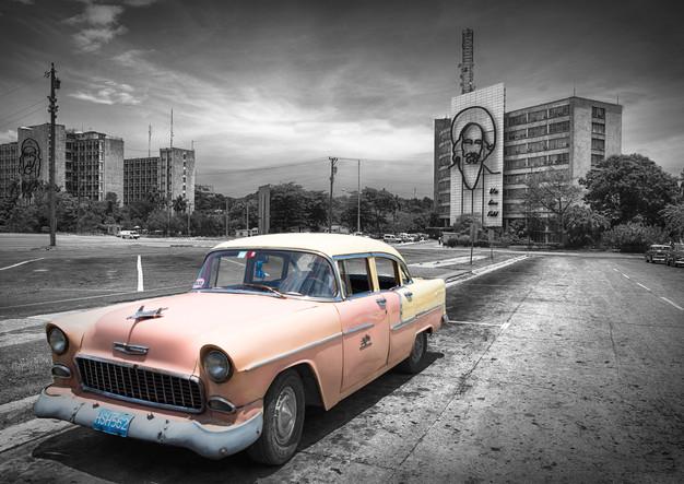 Classic car on Plaza de la Revolucion in Havana