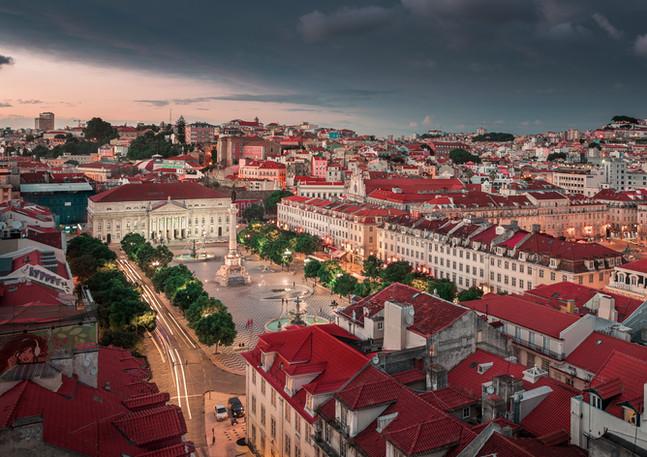 Lissabon Stadt bei Sonnenuntergang