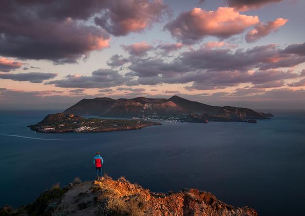 Volcanic island of Vulcano in the sunset