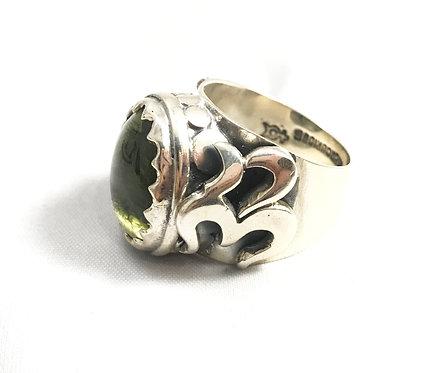 Moldavite Ohm Ring Size 12 by Mercurious