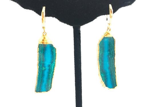 Chrysocolla Golden Plated Earrings