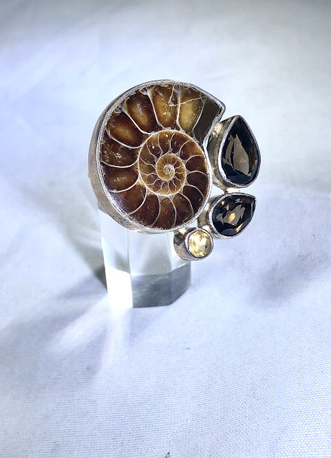 Ammonite Ring with Smokey and Citrine
