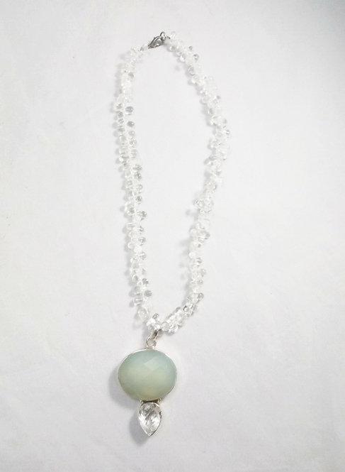 Chalcedony x Topaz x Clear Quartz Necklace