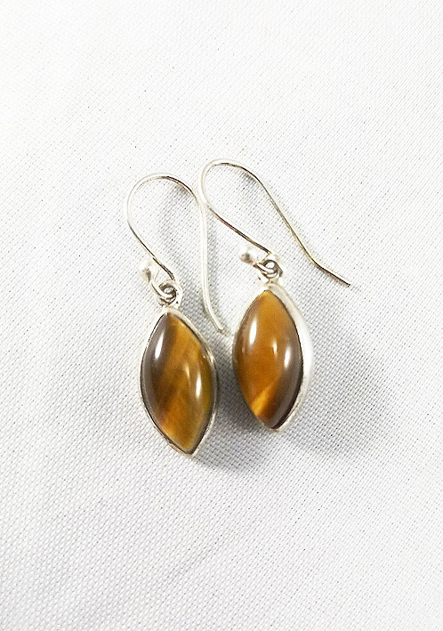 Tiger Eye Rhombus Earrings