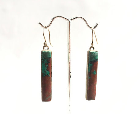 Chrysocolla Earrings Long Rectangle