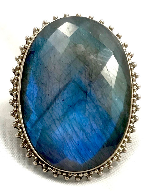 Labradorite Faceted Ring
