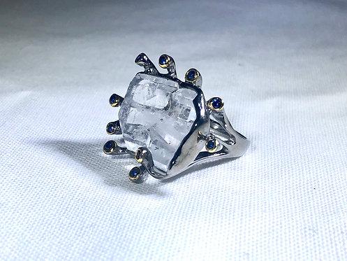 Faden Quartz Ring with Blue Sapphires