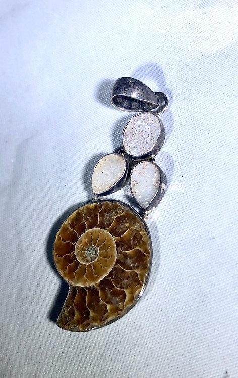 Ammonite Druzy Crystal Pendant