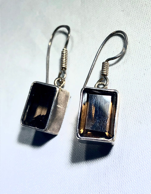 Smokey Quartz Rectangle Earrings