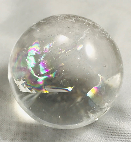 Quartz Sphere w/ Rainbow Inclusions