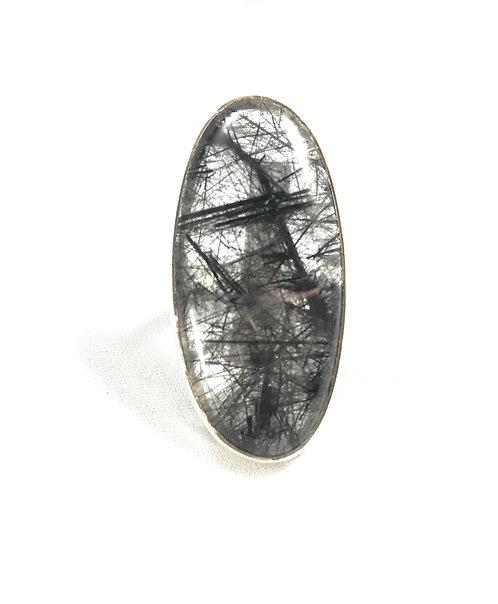 Rutile (Black) Quartz Ring Size 6