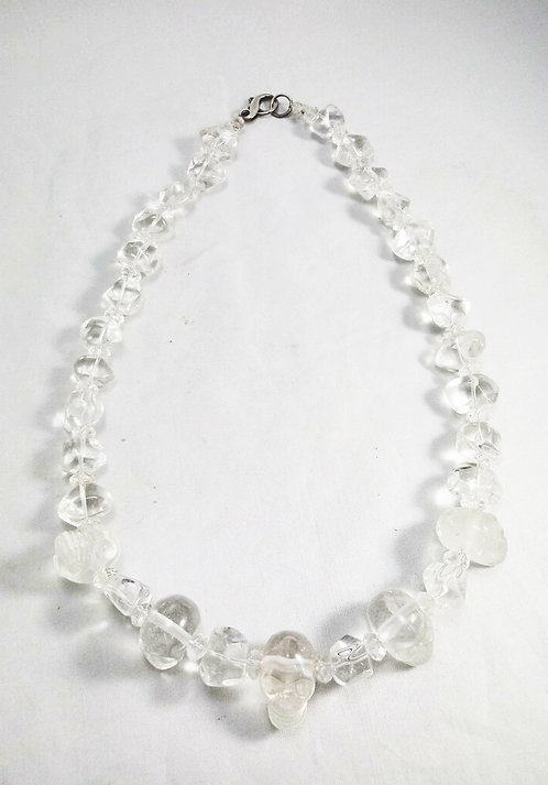 Clear Quartz Skull Necklace by Asheme Creations