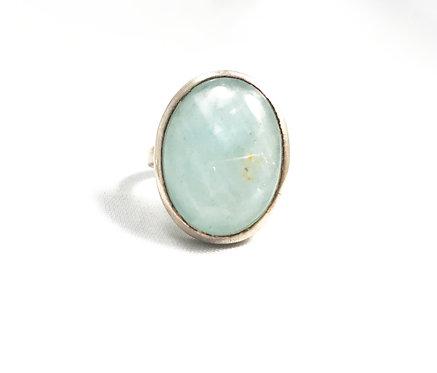 Aquamarine Polished Oval Ring Size 8.5