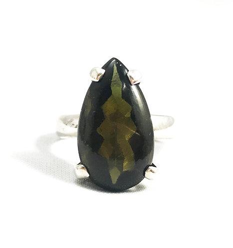 Moldavite Faceted Ring Size 8.5