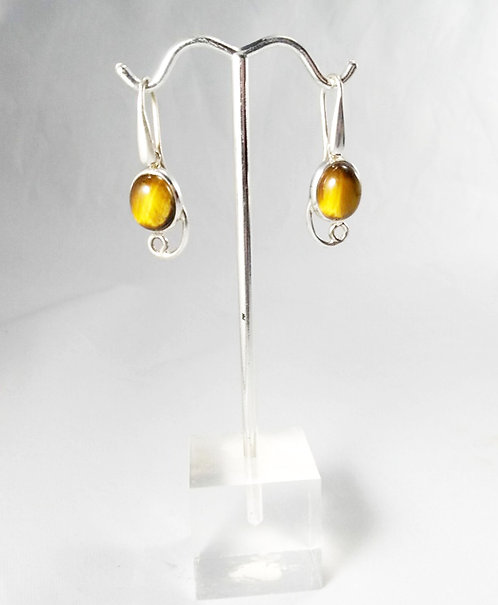 Tiger Eye Oval Earrings