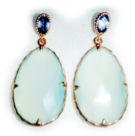 Chalcedony and Iolite Earrings