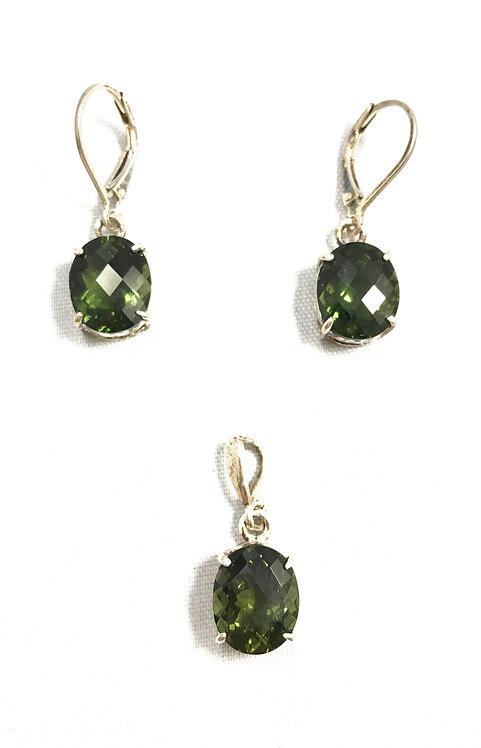 Moldavite Earrings and Pendant Set