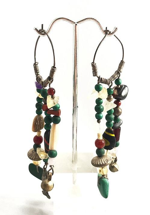 Malachite Earrings with Multi-Stones