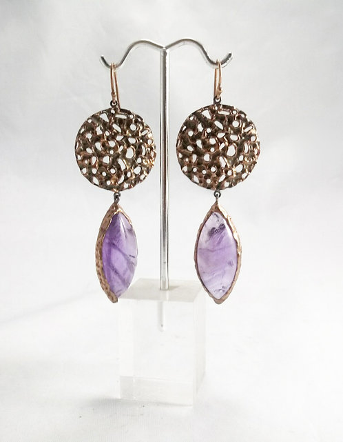Amethyst Earrings with Copper & Sterling Silver