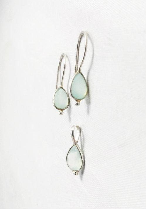 Aqua Chalcedony Jewelry Set