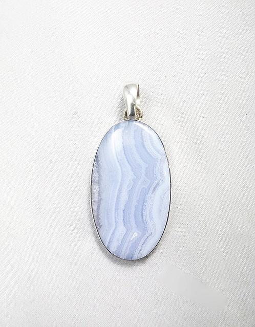 Blue Lace Agate Oval Pendant