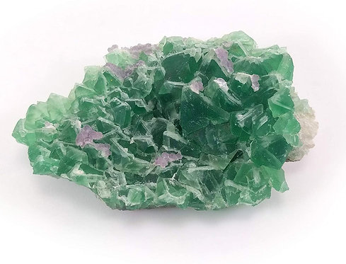 Green Fluorite with Purple Calcite Cluster