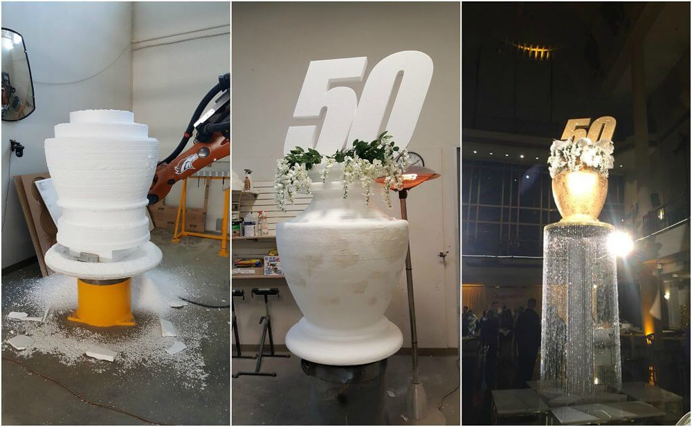 fabrication of gold 50 vase