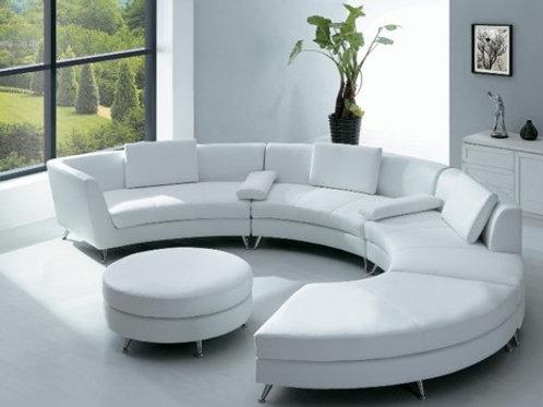 White Serpentine Couch & Ottoman Rental