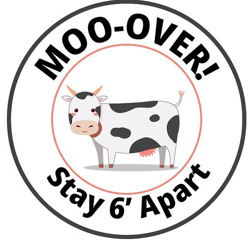 Social Distance Floor Sticker-Moo Over