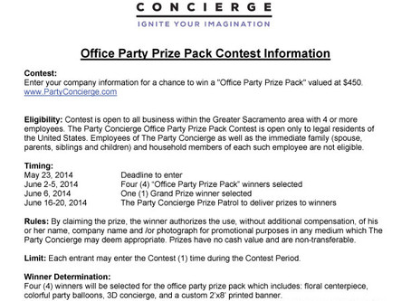 Office Party Prize Package Contest Rules- Prize Patrol