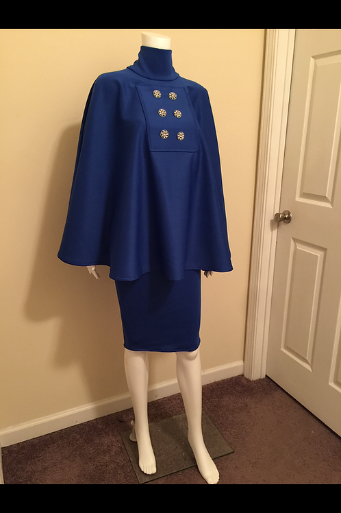 Doubled breasted cape and pencil skirt