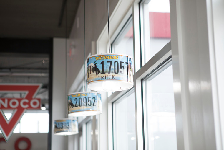 Wyoming License Plate Decor at The Station