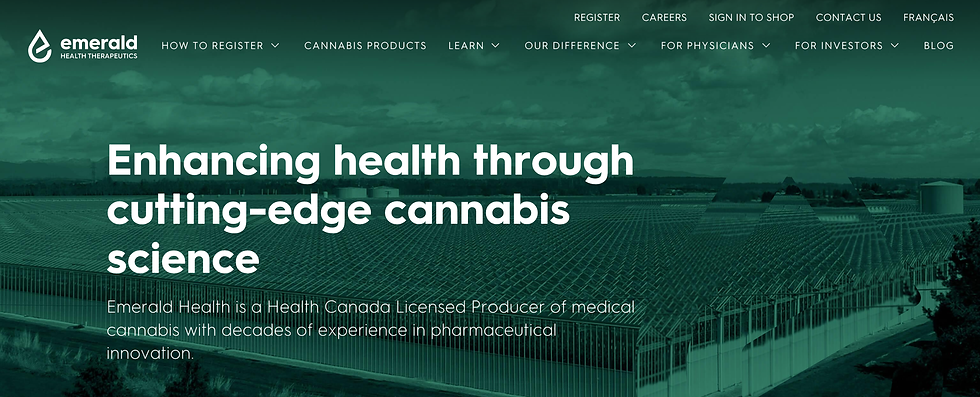 Emerald Health - Redesigned Landing Page