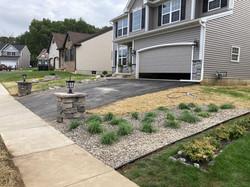 Pillar Lights, new decorative pebble landscaping and grass seeding