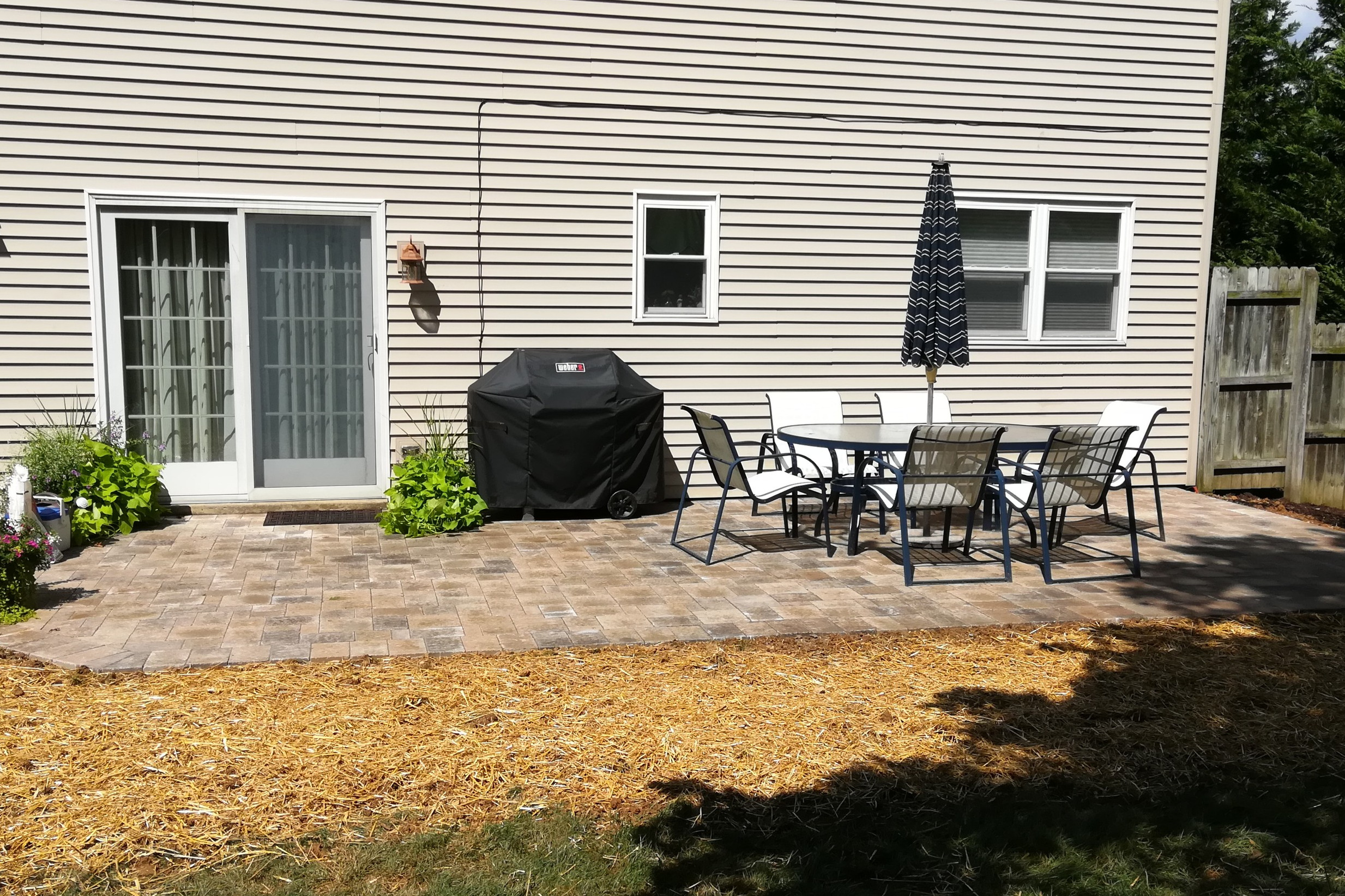 Freshly laid patio and seeding