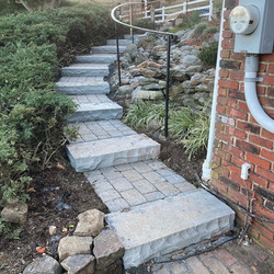 Out with the old broken brick stairway, in with the new and beautiful stairs!