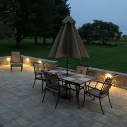 recessed lighting and new patio/wall