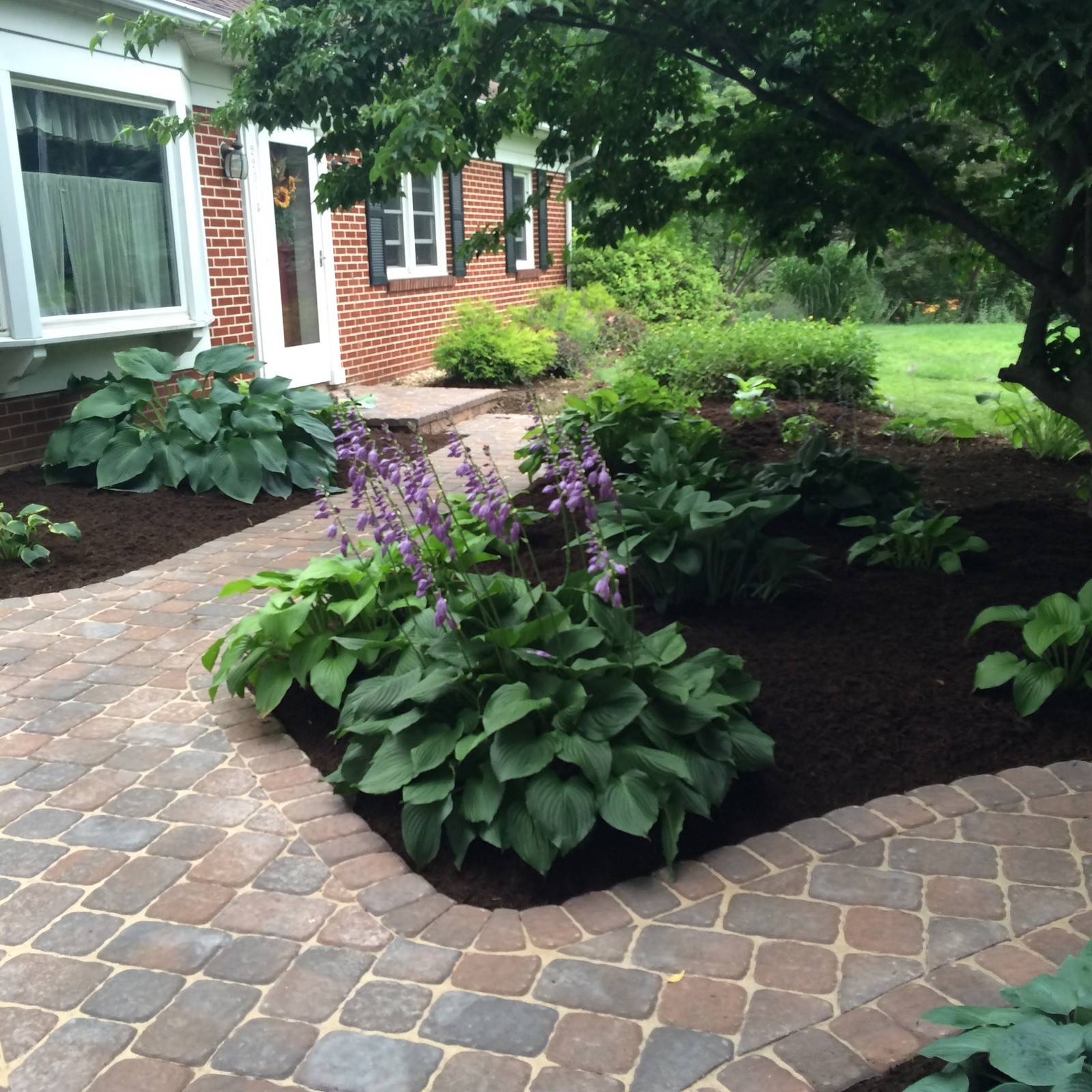 New walkway, fresh mulched beds
