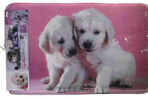 Alfombra baño pareja de perros cachorros