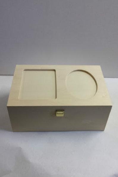 Caja de madera multiusos con cristal para fotos