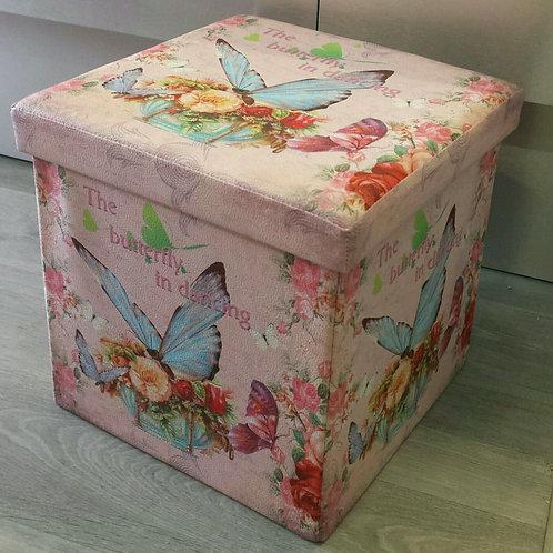 Puf plegable polipiel mariposas rosa azul