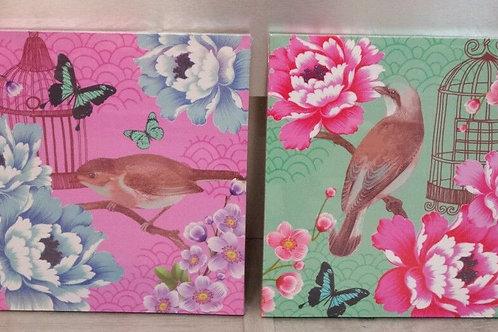Lote de dos cuadros en lienzo pájaros y flores