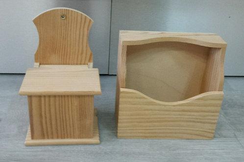 Lote de cajas de madera salero y servilletero