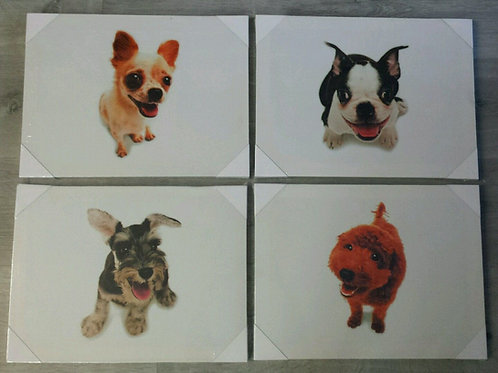 Lote 4 cuadros perros en lienzo 30x40cm